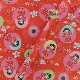 Tissu Oeko-Tex coton popeline Fiona Hewitt - Kimono doll - rouge  x 10cm