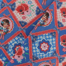 Cotton poplin fabric Fiona Hewitt - Call me - red and blue x 10cm