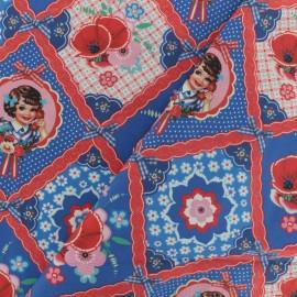 Tissu Oeko-Tex coton popeline Fiona Hewitt - Call me - rouge et bleu x 10cm