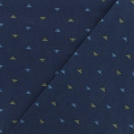 Cotton poplin satin fabric  - Pyramid - dark blue x 10cm