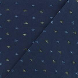 Tissu coton popeline satinée - Pyramide - marine x 10cm