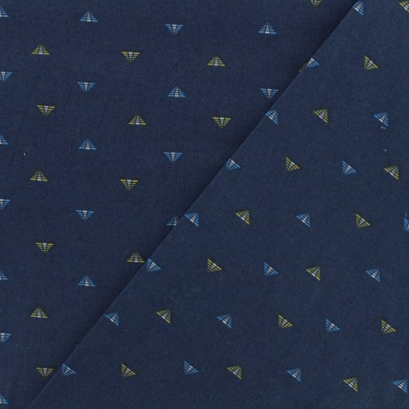 Cotton poplin fabric  - Pyramid - dark blue x 10cm