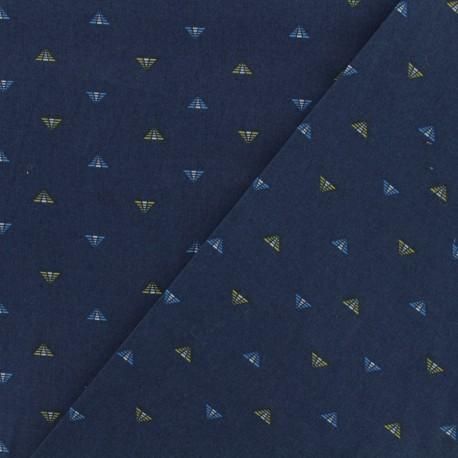 Tissu coton popeline - Pyramide - marine x 10cm