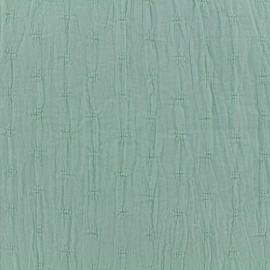 ♥ Coupon 35 cm X 135 cm ♥ Tissu coton froissé motifs ajourés - vert amande