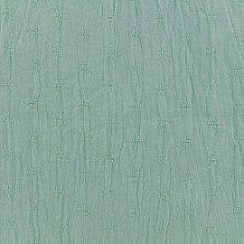 Wrinkled cotton fabric  - Openwork motifs - almond green x 10cm