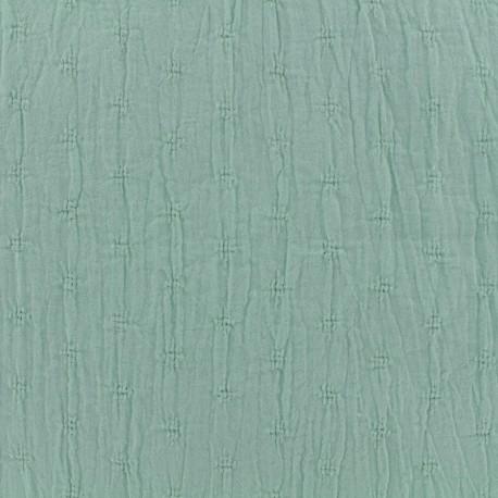 Tissu coton froissé motifs ajourés - vert amande x 10cm