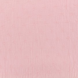 ♥ Only one piece 80 cm X 138 cm ♥ Wrinkled cotton fabric  - Openwork motifs - pink