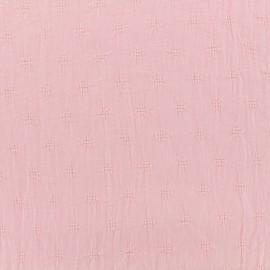 Tissu coton froissé motifs ajourés - rose x 10cm
