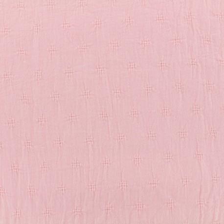 Wrinkled cotton fabric  - Openwork motifs - pink x 10cm