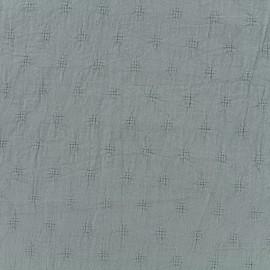 Tissu coton froissé motifs ajourés - gris x 10cm