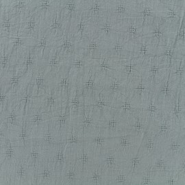 Wrinkled cotton fabric Openwork motifs - grey x 10cm