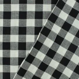 Tissu coton ajourés - Vichy noir x 10cm