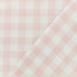 Openwork cotton gingham fabric - light pink vichy x 10cm