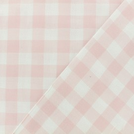 Tissu coton ajourés - Vichy rose poudré x 10cm