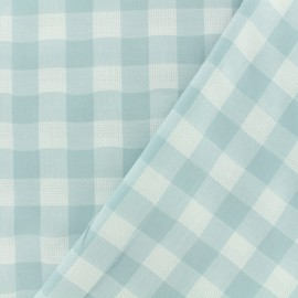 Openwork cotton gingham fabric - light aqua vichy x 10cm