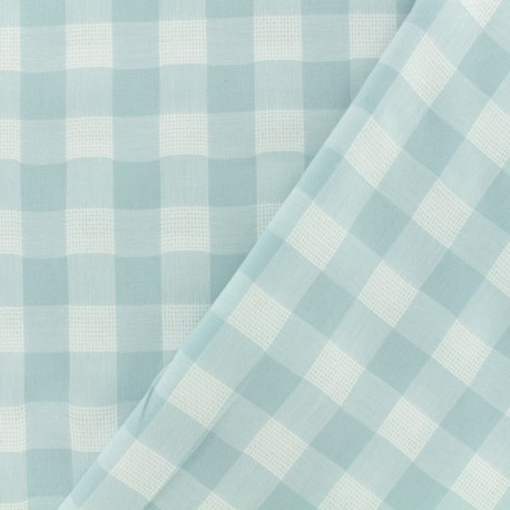 Openwork cotton fabric - light aqua vichy x 10cm