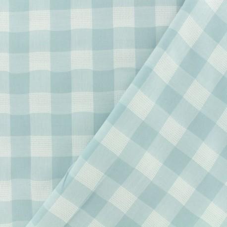 Tissu coton ajourés - Vichy aqua x 10cm