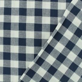 Tissu coton ajourés - Vichy marine x 10cm