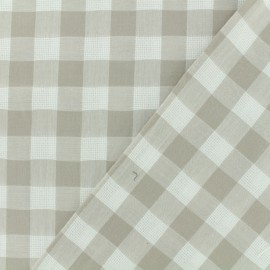 Openwork cotton gingham fabric - light brown vichy x 10cm