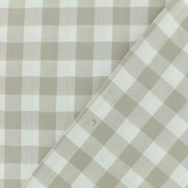 Tissu coton ajourés - Vichy beige x 10cm