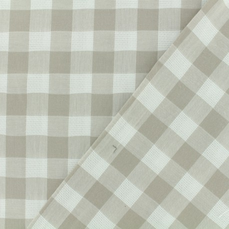 Openwork cotton fabric - light brown vichy x 10cm