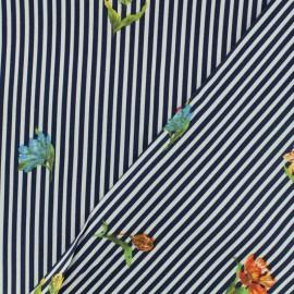Tissu coton popeline satinée - rayé marine et blanc x 10cm