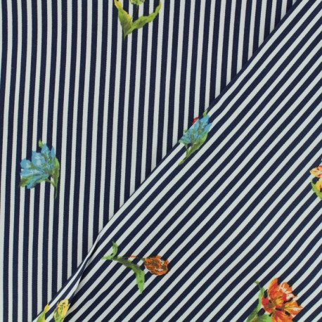 Cotton fabric satin popelin - navy and withe stripes x 10cm