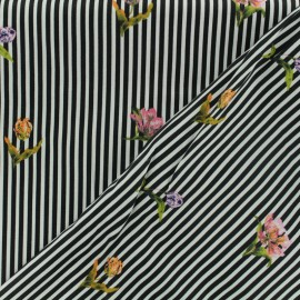 ♥ Coupon 20 cm X 150 cm ♥ Cotton fabric satin popelin - black and withe stripes