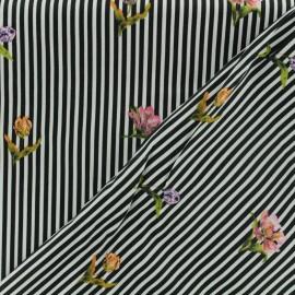 ♥ Coupon 20 cm X 150 cm ♥ Tissu coton popeline satinée - rayé noir et blanc