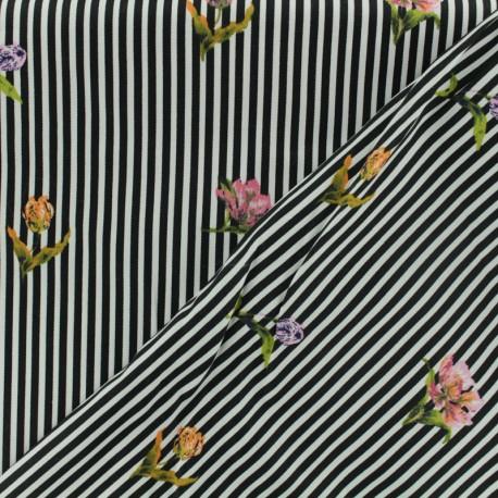 Tissu coton popeline satinée - rayé noir et blanc