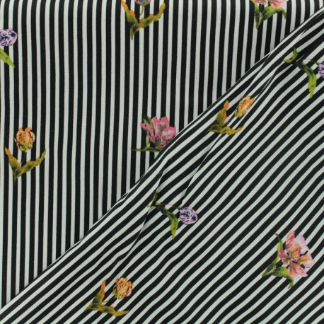 Cotton fabric satin popelin - black and withe stripes x 10cm