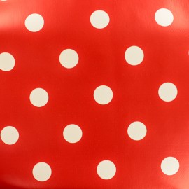 Oilcloth fabric white dots - red background x 10cm