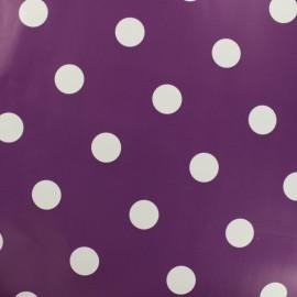 Tissu toile cirée pois blanc - fond aubergine x 10cm