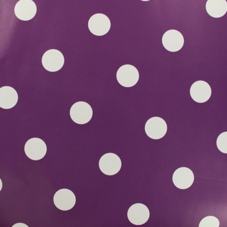 Oilcloth fabric white dots - eggplant background x 10cm