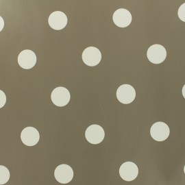 Oilcloth fabric white dots - mole grey background x 10cm
