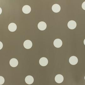 Tissu toile cirée pois blanc - fond taupe x 10cm