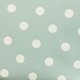 Oilcloth fabric white dots - light blue grey background x 10cm