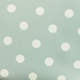 Tissu toile cirée pois blanc - fond bleu ciel x 10cm