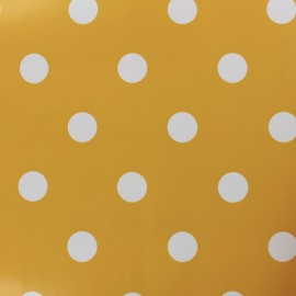 Oilcloth fabric white dots - mustard background x 10cm