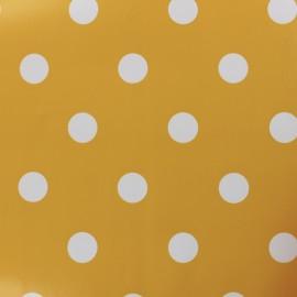 Tissu toile cirée pois blanc - fond moutarde x 10cm