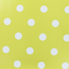 Oilcloth fabric white dots - anise background x 10cm