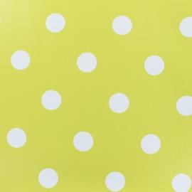 Tissu toile cirée pois blanc - fond anis x 10cm