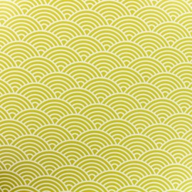 Oilcloth fabric white sushis - anise background x 10cm