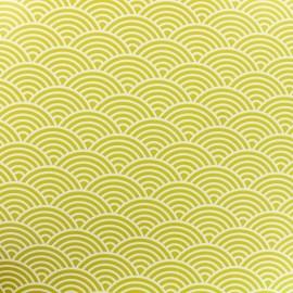 Tissu toile cirée sushis - fond anis x 10cm
