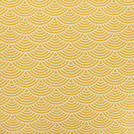 Oilcloth fabric white sushis - mustard background x 10cm