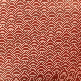 Tissu toile cirée sushis - fond rouge x 10cm