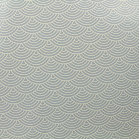 Oilcloth fabric white sushis - light blue background x 10cm