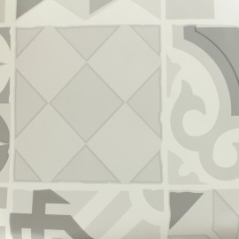 Oilcloth fabric cement tile - grey x 50cm