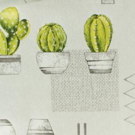 Tissu toile cirée  Oeko-Tex Cactus - gris x 50cm