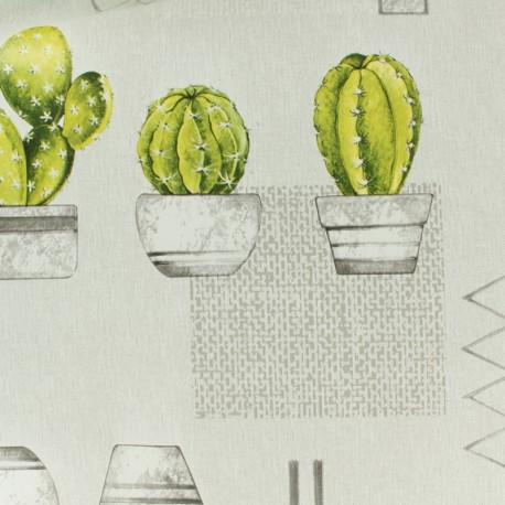 Tissu toile cirée cactus - gris x 50cm